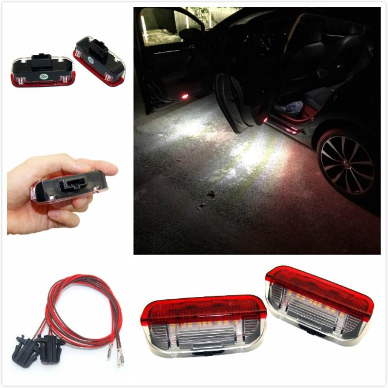 2 PCS 18SMD LED Courtoisie Lampe Led Porte Latérale Lumière DC 12 V Blanc pour VW Golf 5 6 7 Jetta MK5 MK6 MK7 CC Tiguan Passat B6 B7