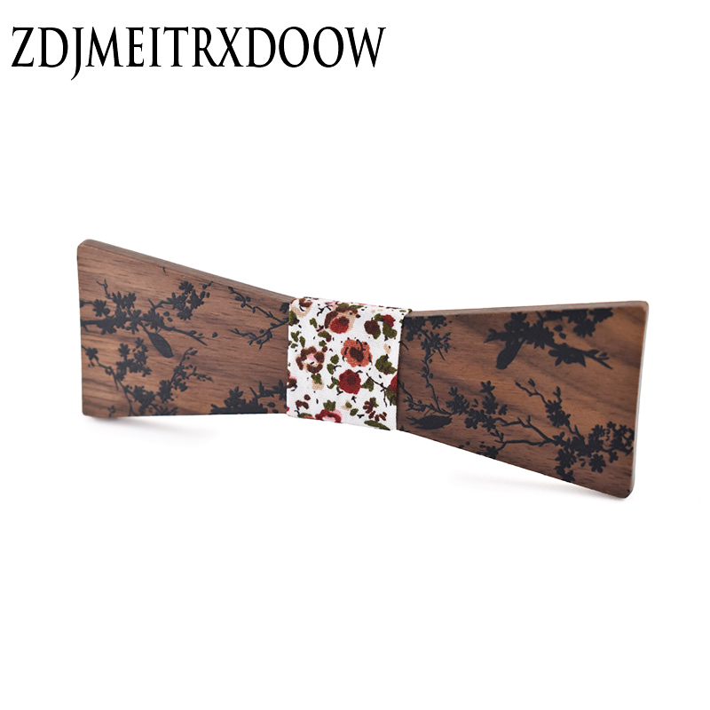New Men's Adjustable Vintage Plant Print Bow Tie Butterfly Bowtie Tuxedo Bows Groom Prom Party Accessories Gift Wooden bow ties