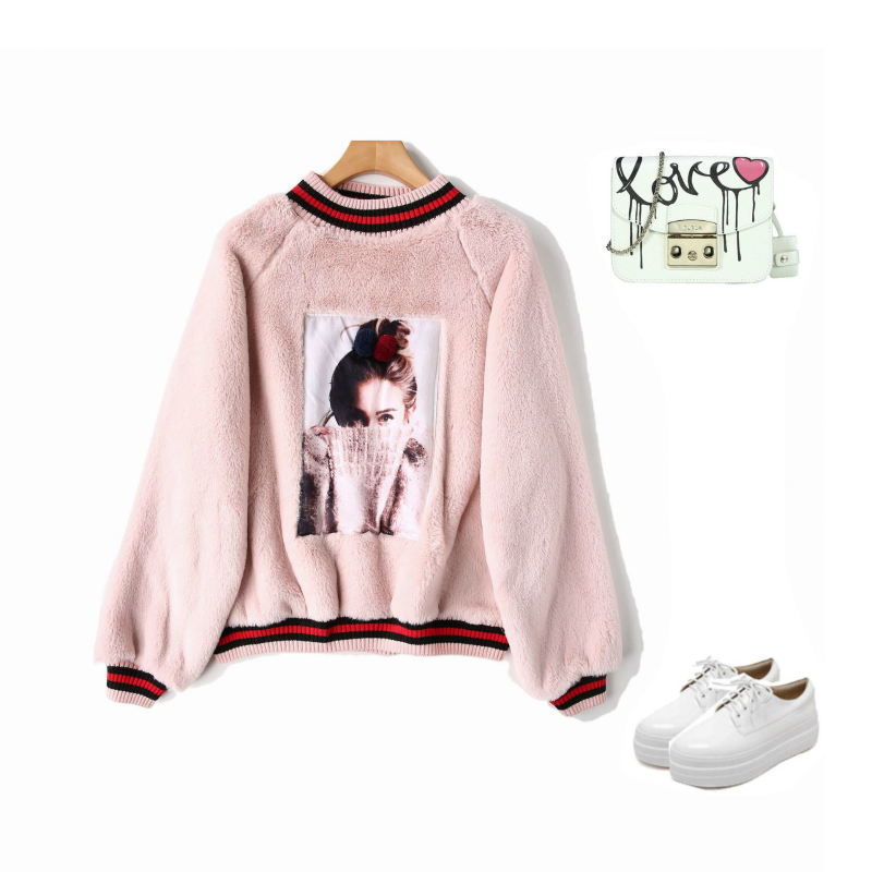 2019 New Year Women Hoodies Sweatshirts Winter Rabbit Hair Thick Warm Hooded Tops Cute Coat Print Ladies Pullover Sweatshirts in Hoodies amp Sweatshirts from Women 39 s Clothing