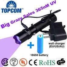 [Free ship]5W 365nm uv flashlight UV ultraviolet Rechargeable UV Flashlight Torch Anti-fake Money Detector with battery changer