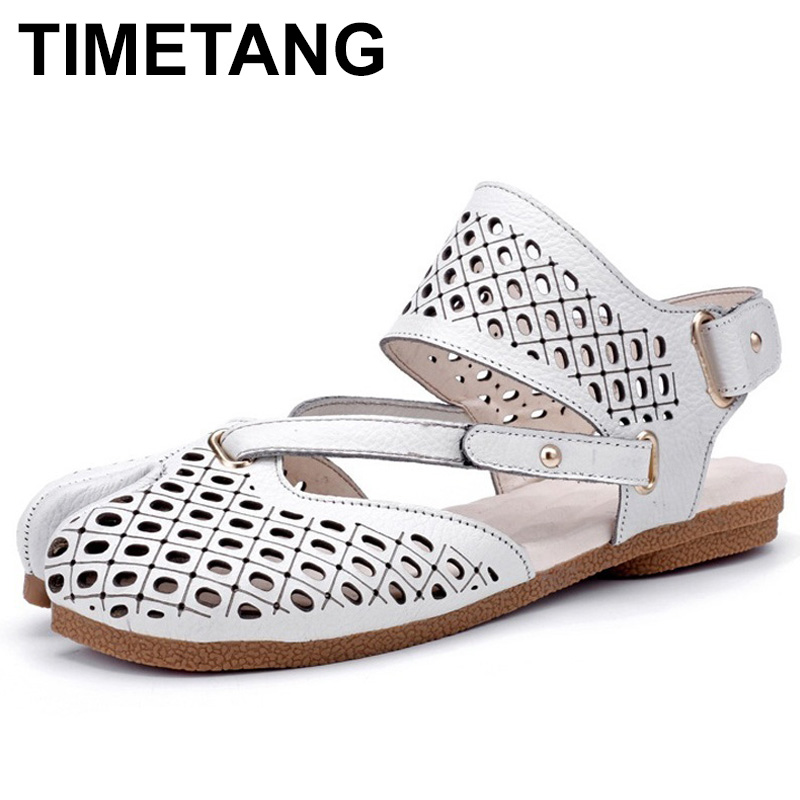 TIMETANG Fashion Women Sandals Summer Flat Shoes Hollow Hook Loop Genuine Leather Women Gladiator Sandals Sandalia FemininaE314 mivnskve 2017 new women genuine leather sandals female gladiator hook loop flat with shoes beach soft rome ethnic sewing fashion