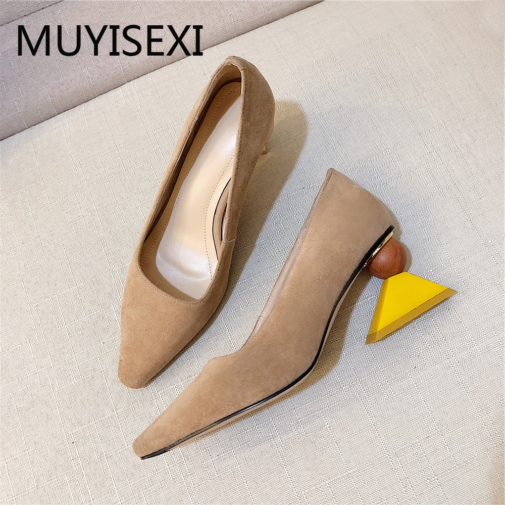 Full Genuine Leather Women Shoes Strange Mixed Colors Yellow High Heels Pointed Toe Pumps Apricot Black