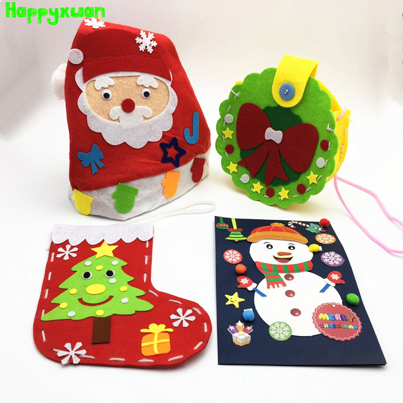 Happyxuan 4pcs Kids DIY Felt Christmas Toys Backpack Socks Fabric Crafts Kits Kindergarten Gift Handicraft Supplies Educational