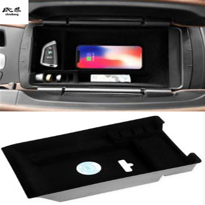 1lot Mobile phone wireless charging Central Armrest storage box for 2014-2018 BMW X5 F15 / 2014-2018 X6 F16 accessories for bmw x5 f15 2014 2016 x6 f16 2014 2017 abs rear armrest box decoration molding cover trim 2 pcs set