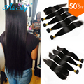7A Brazilian Straight With Closure HC Hair 3 pcs Lot Straight  Hair With Lace Closure Brazilian Virgin Hair Weave Bundle Deals