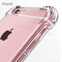 Wangcangli Anti-Knock Transparan Case untuk iPhone 5S 6S SE 5 7 8 Plus Silicone Phone Cover Case untuk iPhone 7 8X10 Plus(China)