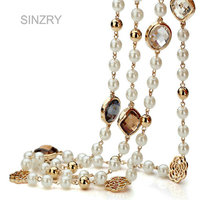 Hotsale Classic Design Cubic Zircon Rose Flower Simulated Pearl Long Necklace For Women Sweater Winter Necklace