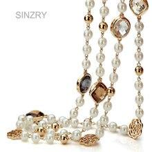 Sinzry hotsale ZIRCON Rose flor simulado perla collar largo para las mujeres invierno suéter collar de regalo de Navidad