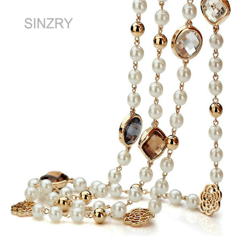 SINZRY Hotsale Cubic zircon rose flower simulated pearl long necklace for women sweater winter necklace christmas gift