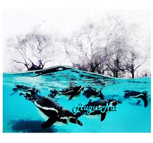animals diamond painting cross stitch sea dolphin wall art decal diy rhinestone painting diamond dotz sticker mosaic pictures(China)