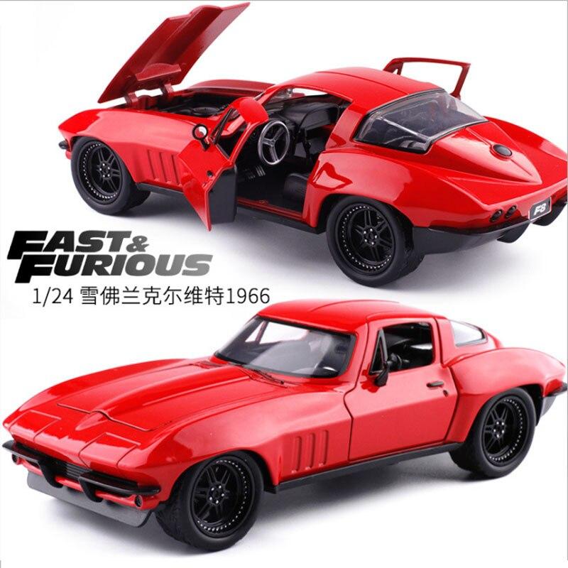 1:24 échelle métal alliage avancé voiture moulé sous pression modèle rapide et furieux F8 Chevrolet Corvette 1966 jouet Collection F Collection cadeau
