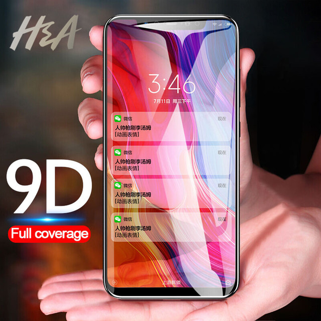 H & A 9D Đầy Đủ Bìa Bảo Vệ Kính trên Cho Cho Xiao mi mi 8 Lite Kính A1 5X 6X bảo Vệ màn hình Cho Xiao mi mi A2 lite Kính