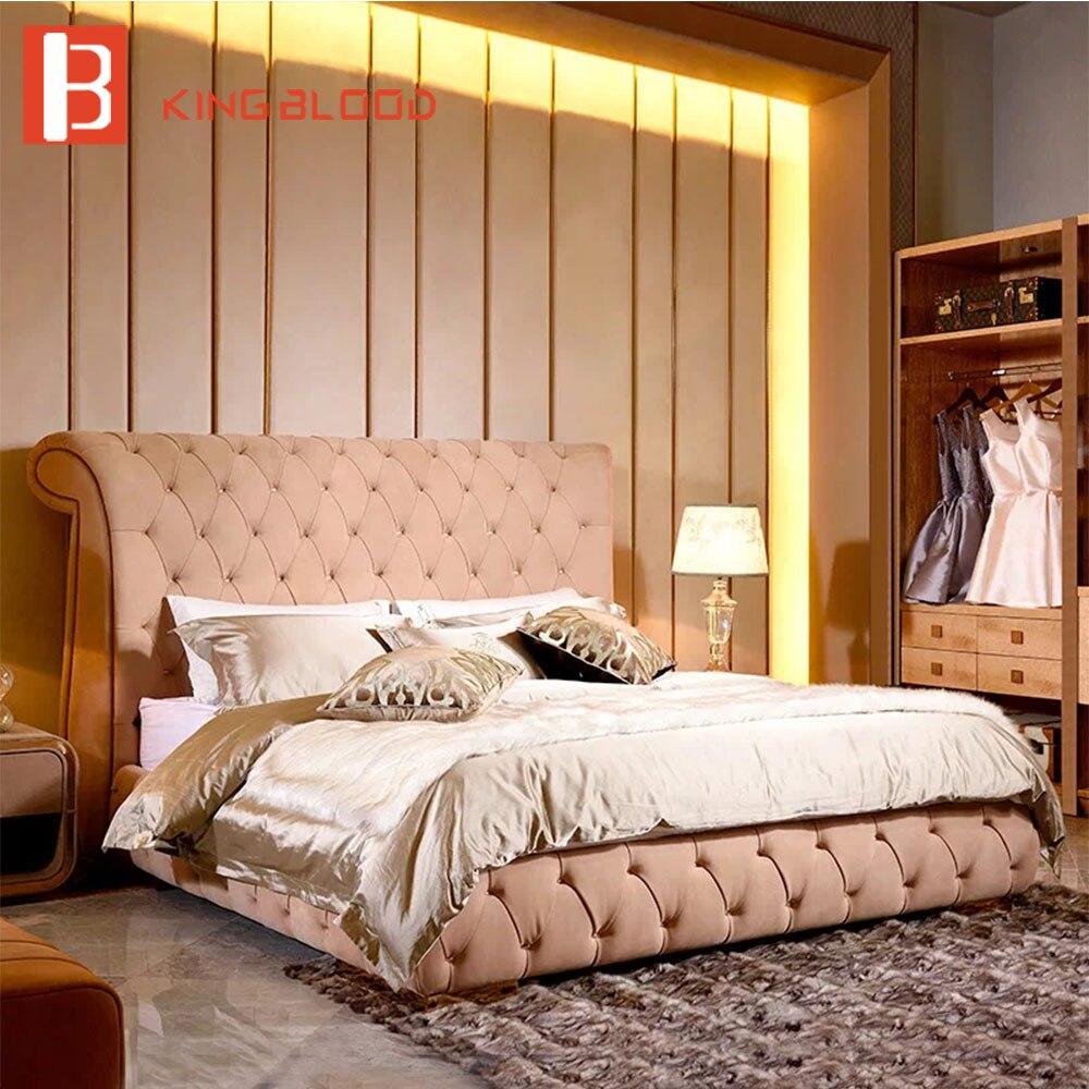 De luxe Chambre Lit moderne nubulk cuir lit meubles rembourrés