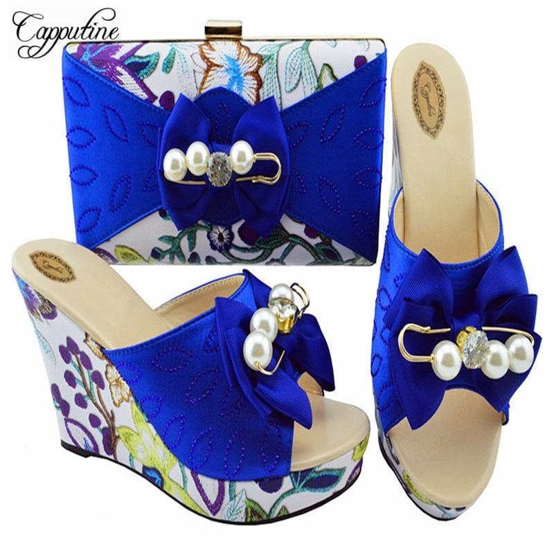 Capputine Nigerian Flowers Slipper Shoes And Matching Bags Italian Fashion Women Wedding Shoes And Bag Set For Wedding YK1063 цена