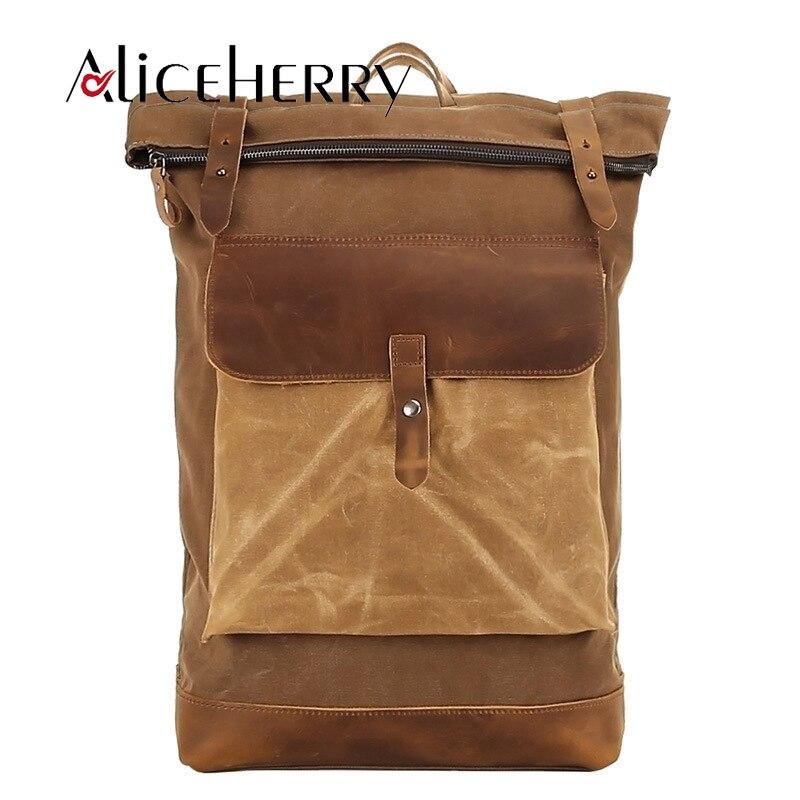 Man Canvas Leather Backpack Vintage High-capacity Laptop Cowhide Backpacks Men Women Backpack School Bags For Male Mochila стоимость