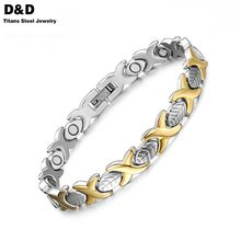 Fashion Gold Plated Health Magnet Bracelet Bangle For Women Titanium Steel Jewelry Girlfriend Gift SBRM-047