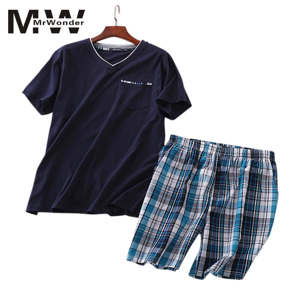 Summer New Men's Pajamas Suit Cotton Short-sleeved Knitted Cotton Shorts Casual Increase Size Home Service Pajamas SAN0