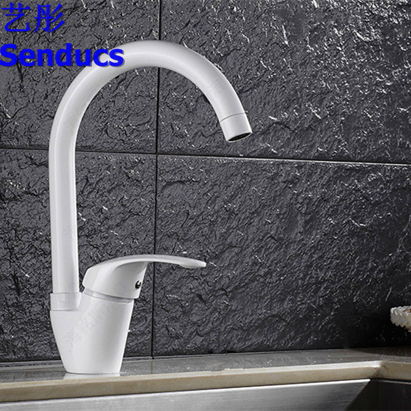 Free shipping Senducs black kitchen sink faucet with single handle kitchen water faucet of brass kitchen