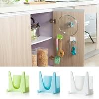 Organizador de plástico para cocina, cubierta de sartén, soporte de herramientas con ventosa, gancho de pared, estante, 2 uds.