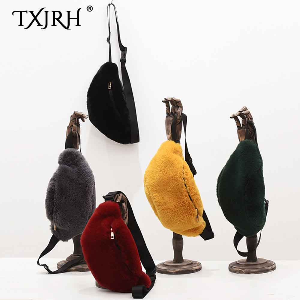 TXJRH Stylish Faux Fur Furry Fanny Pack Waist Bag Shoulder Bag Crossbody Pouch Travel Wallet Fashion Women Waist Packs 5 Colors