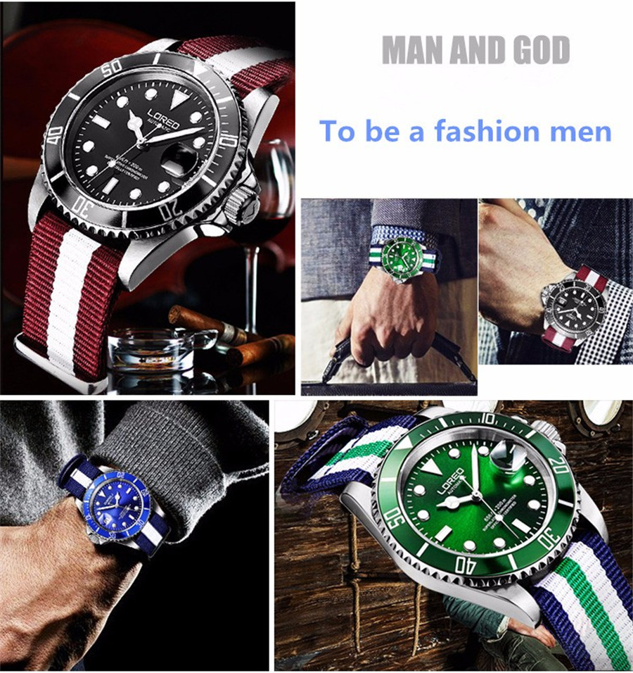HTB1ilhna8GE3KVjSZFhq6AkaFXat New LOREO Water Ghost Series Classic Blue Dial Luxury Men Automatic Watches Stainless Steel 200m Waterproof Mechanical Watch