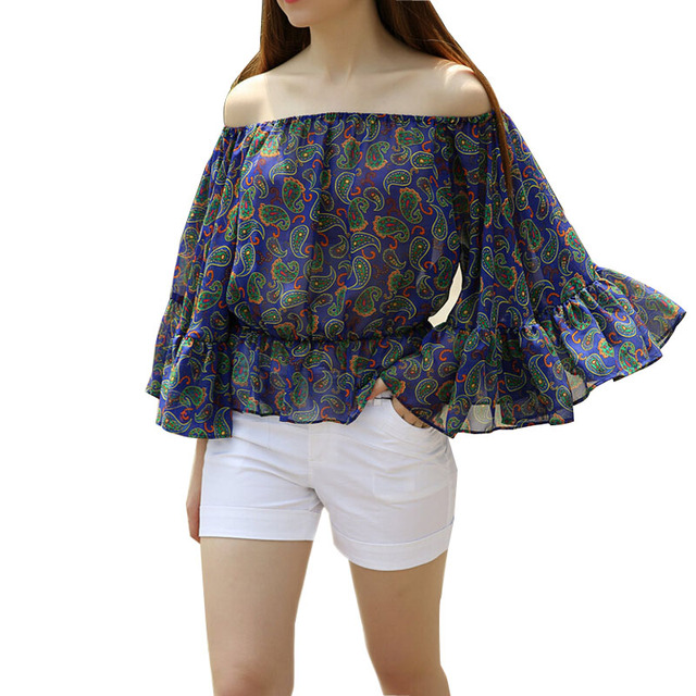 Summer Women Off Shoulder Chiffon Blouse Shirt Flare Sleeve Slash Neck Sexy Tops Floral Printed Blouses Blusas y Camisas Mujer