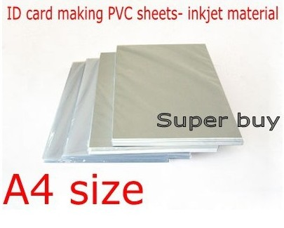 <font><b>PVC</b></font> ID Card Making Supplies Material Blank Inkjet Print <font><b>PVC</b></font> <font><b>Sheets</b></font> A4 Size 50sets White Color 0.76mm Thick image