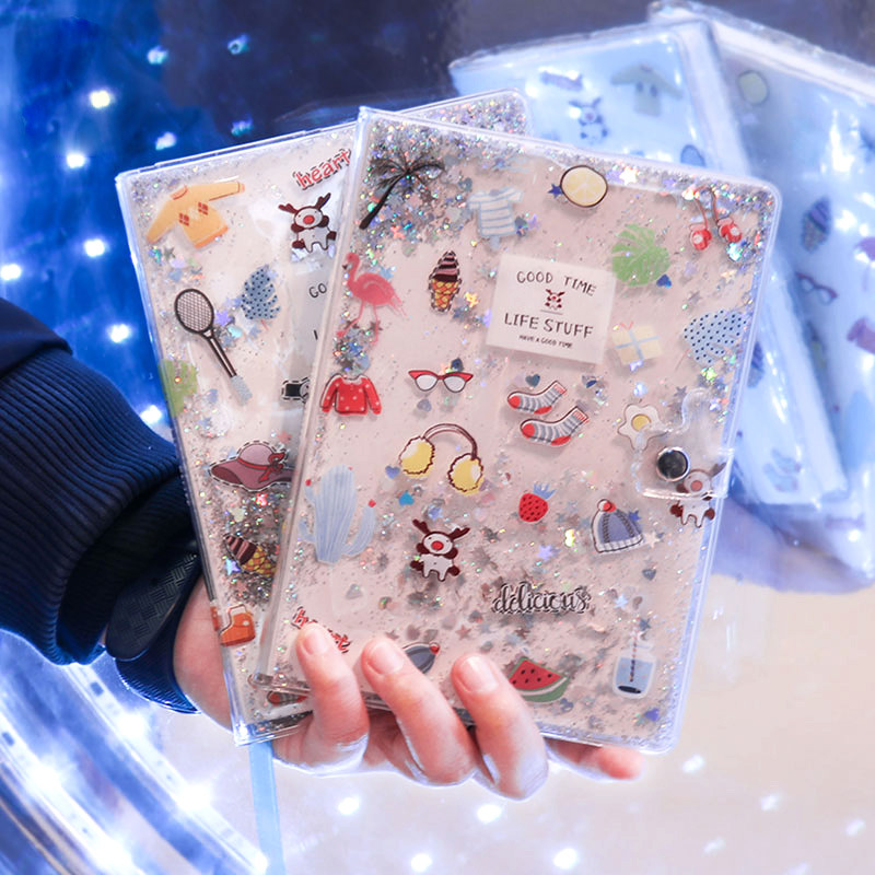 Cute Stationery Quicksand Hand Account Book Square Girl Heart Cute Buckle Plastic Cover This Net Red Kawaii Notebook Book