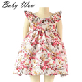 Summer Lolita Style Toddler Butterfly Sleeve Backless Baby Girls Dresses Vintage Floral Girl Dress Resort Beach Wear tyh-50354