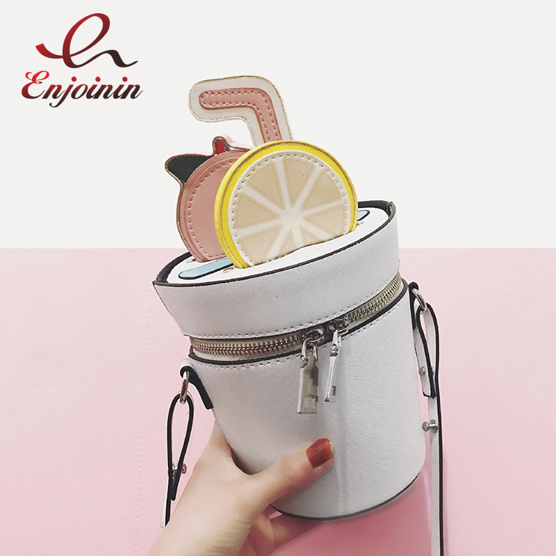 2017 Funny cute fashion summer lemon tea white bucket bag ladies shoulder bag crossbody messenger bag