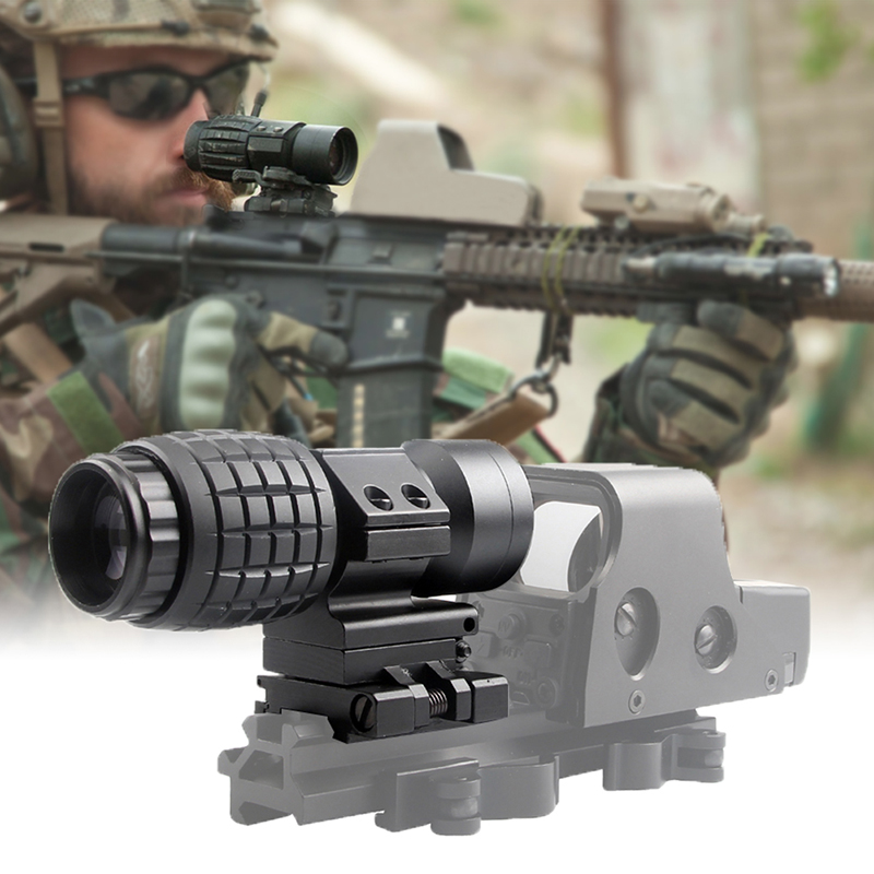 3X Magnifier Scope Compact Tactical Sight with Flip to 20mm Airsoft Rifle Gun Rail Mount 6
