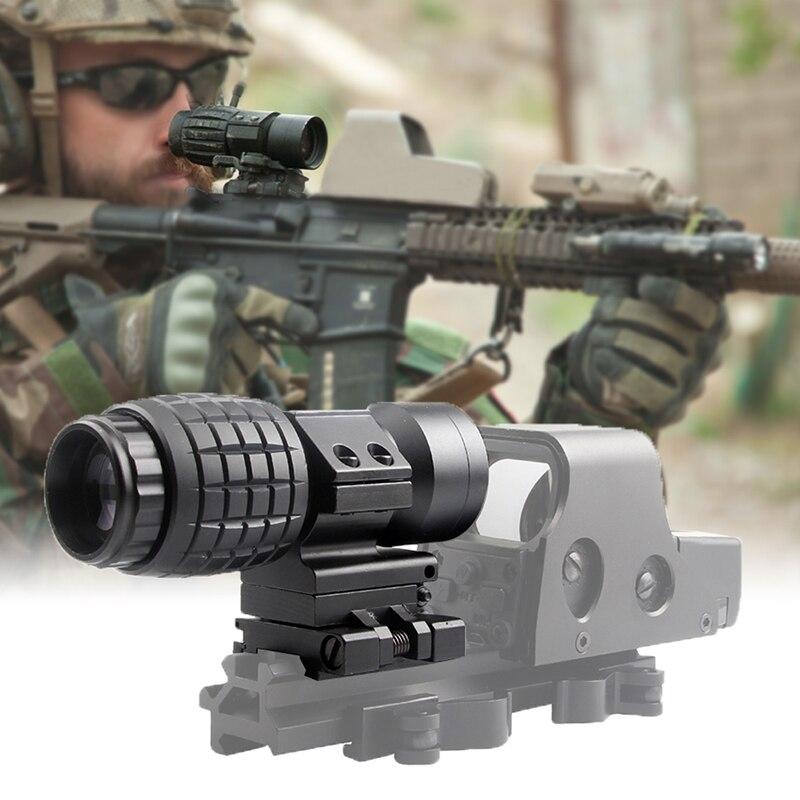 3X Lente di Ingrandimento Scope Compact Tactical Sight con Flip per 20mm Airsoft Pistola del Fucile di Montaggio Su Guida 6-0059