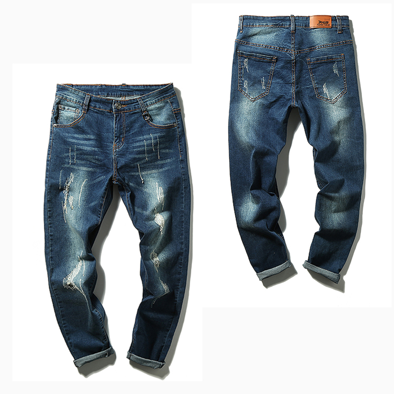 ФОТО Fashion 2016 Baggy Elastic Harem Jeans Men Plus Size Ripped Jeans Joggers Hip hop Legging Pants Pencil Distressed Slim Jeans 302