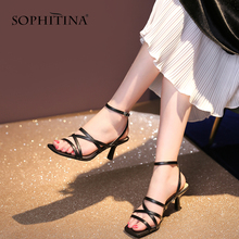 SOPHITINA Sexy Thin Heels Women Sandals Black Red High Quality Microfiber Shoes Fashion Party Summer Buckle Ladies Sandals PO175 hot 16cm extreme high heels red black summer sandals sexy women prom fashion buckle ultra thin stilettos women platform sandals