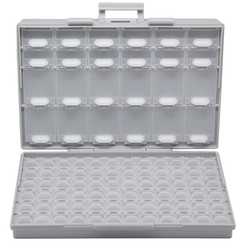 AidetekBOXALL96 lids enclosure SMD SMT parts Organizer Surface Mount Box Lab Electronics Storage Cases & Organizers BOXALL96 aidetek 2 units of smd resistor capacitor electronics storage cases