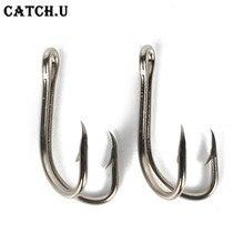 10 Pcs/ Lot 3.2cm Black/White High Carbon Steel Double Hook Lure Fishing Hook