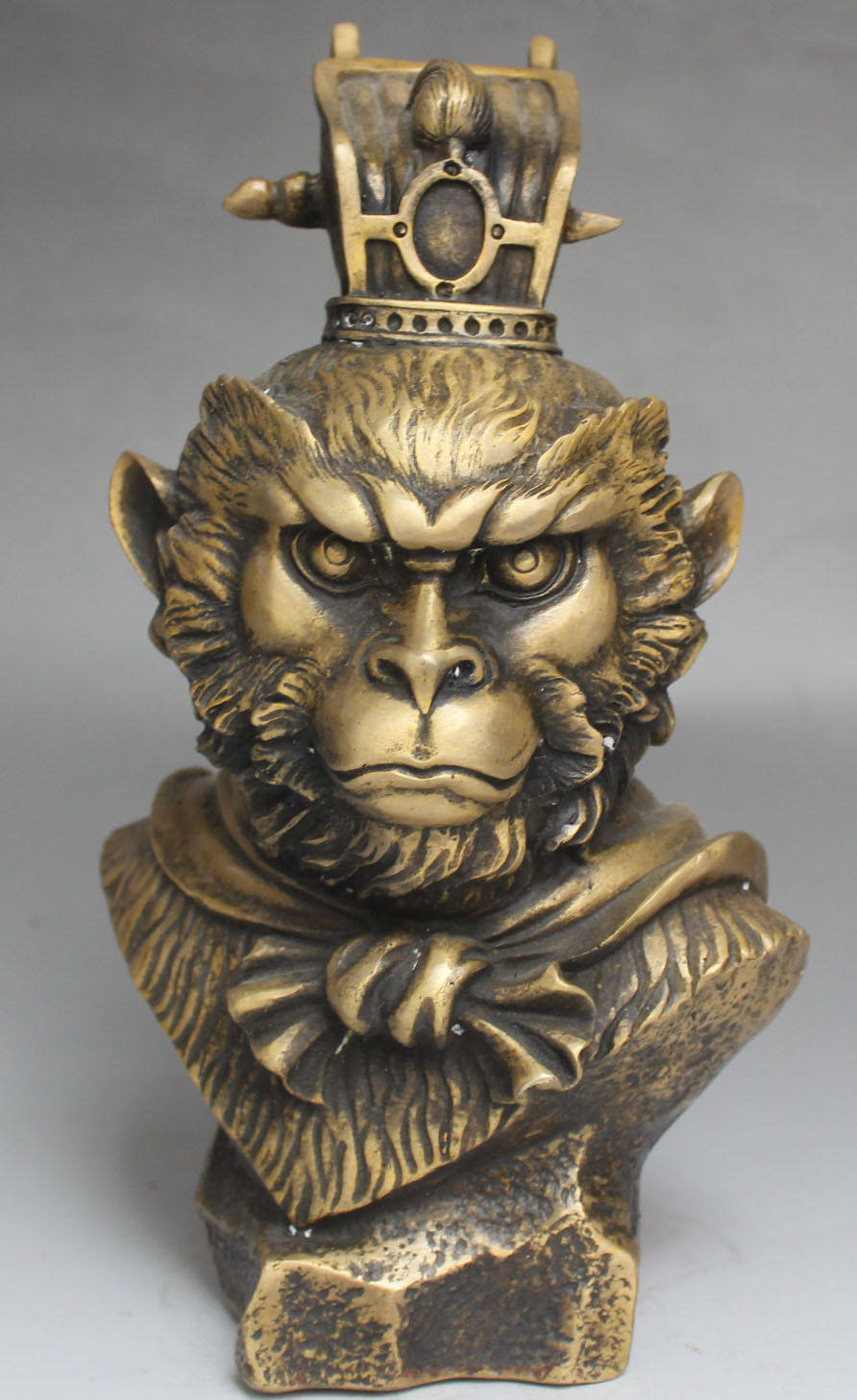 Chinese Mythos Bronze Handsome Sun Wukong Monkey King Head Bust Statue SculptureChinese Mythos Bronze Handsome Sun Wukong Monkey King Head Bust Statue Sculpture