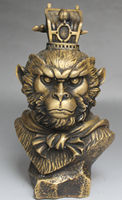 Chinese Mythos Bronze Handsome Sun Wukong Monkey King Head Bust Statue Sculpture