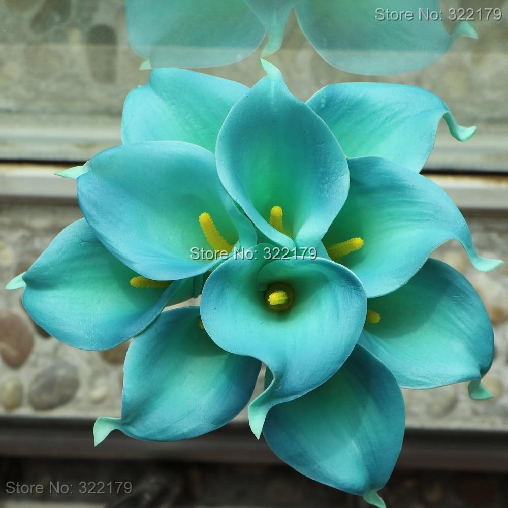 10pcs Teal Calla Lilies Wedding Bouquet Flowers Latex For Centerpieces Decor