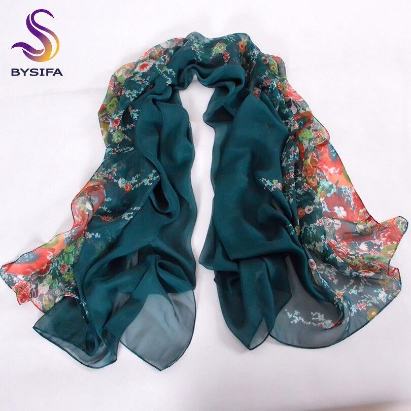 [BYSIFA] Winter Dark Green Silk Schal Neue Marke 100% Naturseide - Bekleidungszubehör - Foto 2