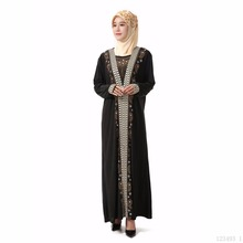 Muslim women Long sleeve hijab Dress maxi abaya jalabiya islamic dress clothing robe kaftan Moroccan fashion embroidey