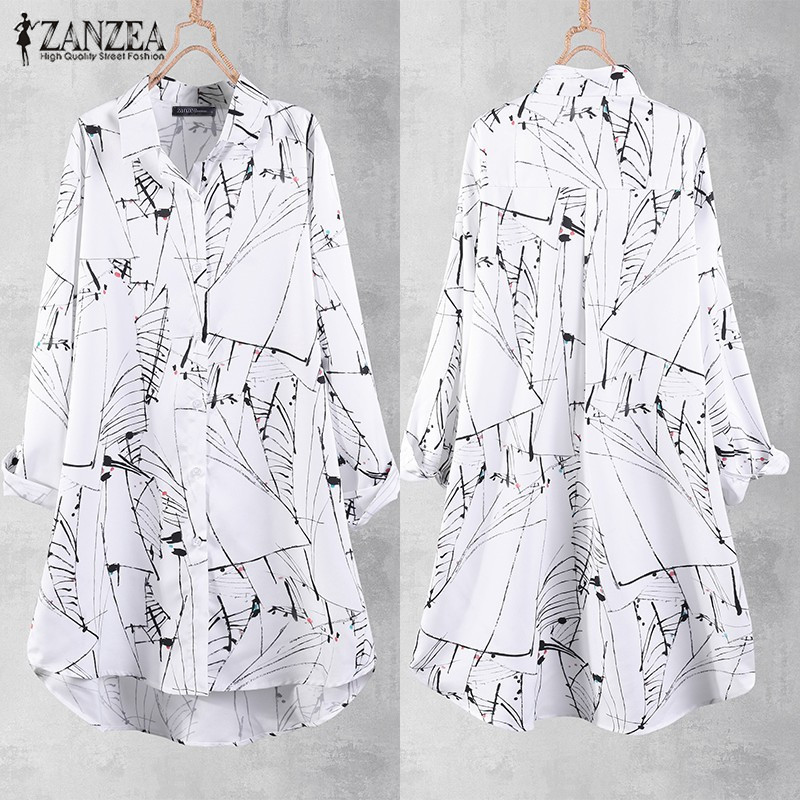 Plus Size Tunic Women Printed Blouse Long Shirt 2019 ZANZEA Casual Button Down Shirt Chemise Female Long Sleeve Top Lapel Blusas