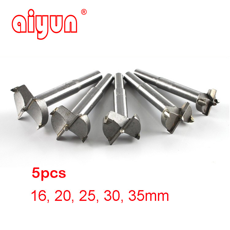 5pcs/set Forstner Auger Drill Bit Set Wood Drilling Woodworking Hinge Hole Saw Window Wooden Cutting Rotary Tool Accessories new 50mm concrete cement wall hole saw set with drill bit 200mm rod wrench for power tool