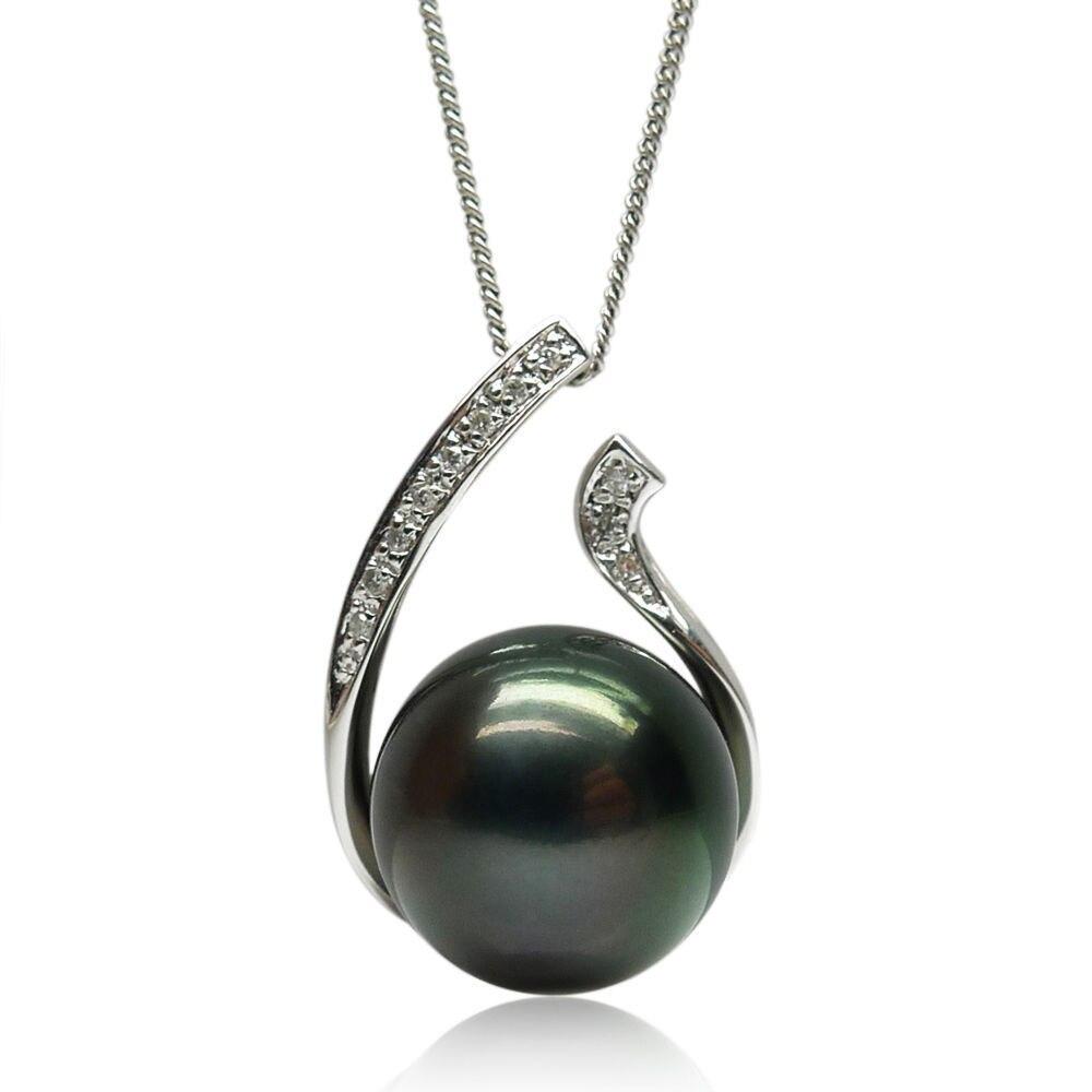 Livraison gratuite 13.3 MM AAA noir vert véritable pendentif perle de tahiti 18 or blanc massif