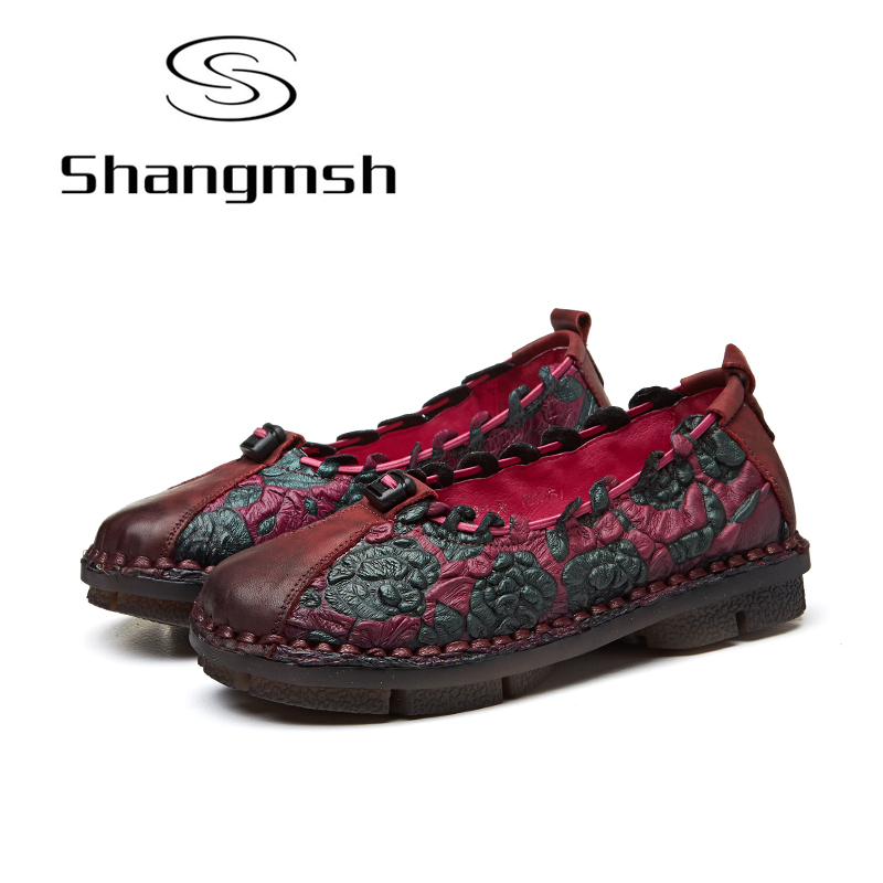 Shangmsh Ballet Flats 2018 Casual Genuine Leather Handmade Women's Shoes Size 42 43 Slip On Round toe Loafers Ladies Shoes designer women loafers flower genuine leather shoes ladies moccasins ballet flats round toe casual zapatos mujer size 35 44