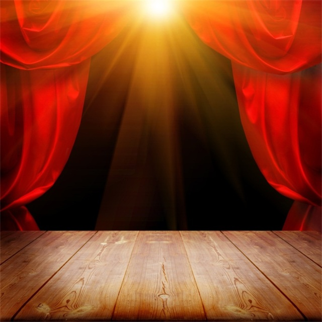 Laeacco Stage Backgrounds Red Curtain Spotlight Shine Baby Child