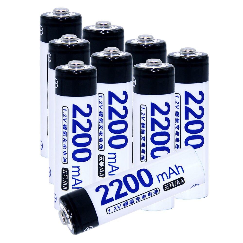 True capacity! 9 pcs AA portable 1.2V NIMH AA rechargeable batteries 2200mah for camera razor toy remote control flashlight 2A