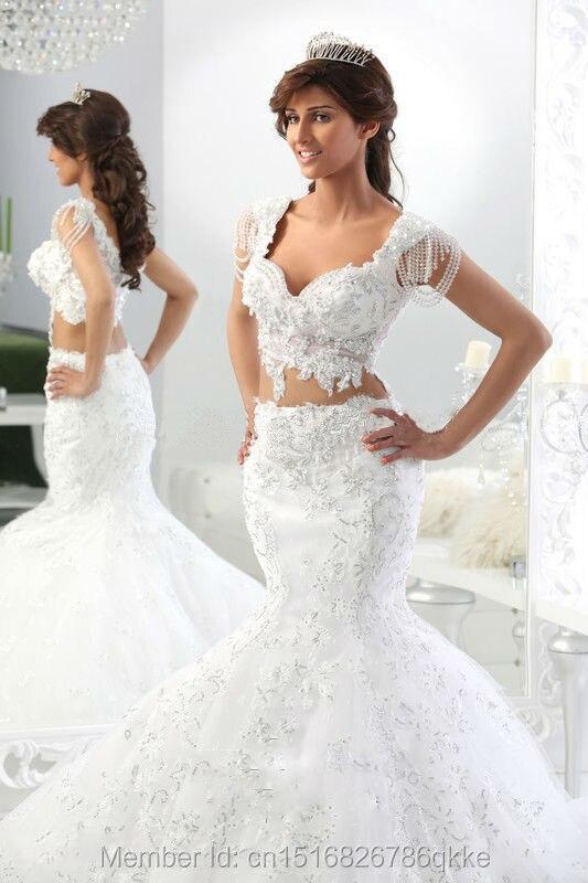 Two Piece Mermaid Wedding Dresses Sweetheart Cap Sleeve Crop Top ...
