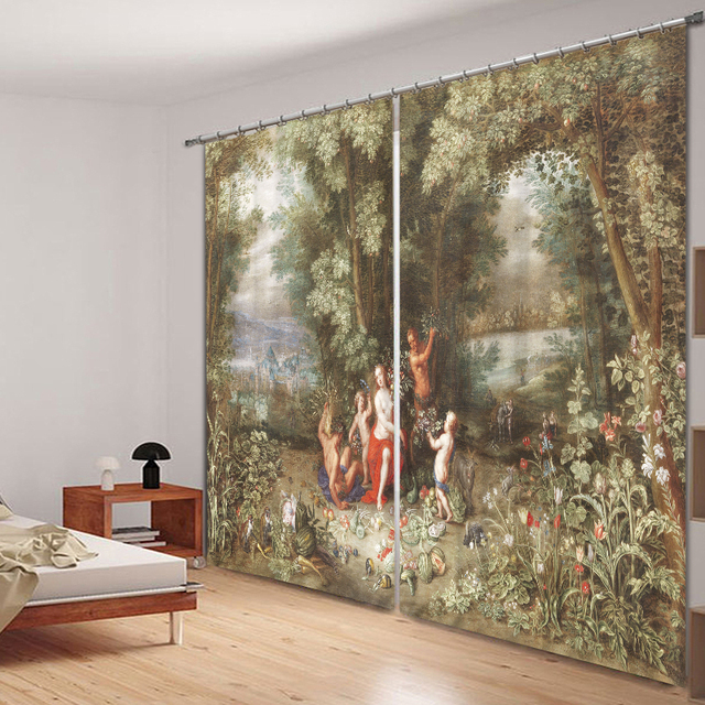 Oil Painting 3D Photo Printing Blackout Window Curtains For Living Room  Bedding Room Hotel/Office