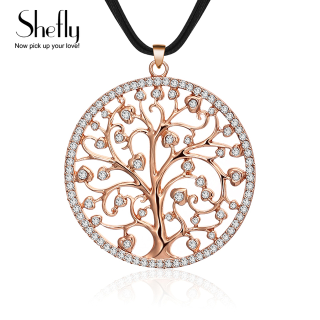 Rose gold color tree of life pendant necklace women collar long rose gold color tree of life pendant necklace women collar long leather chain round long necklaces mozeypictures Gallery